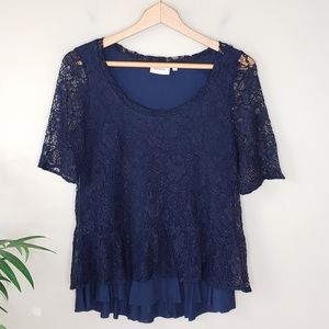 Anthropologie Deletta | Navy Lace Top